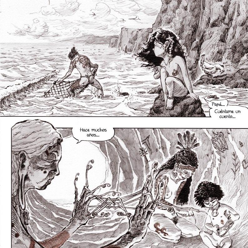 Una página del segundo volumen de Varua Rapa Nui, donde se puede apreciar la diferencia de estilos entre dibujantes.
